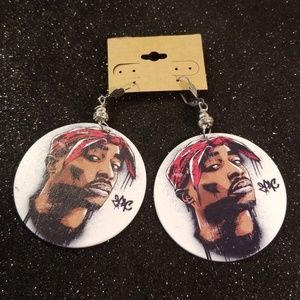 2pac wood dangling earrings